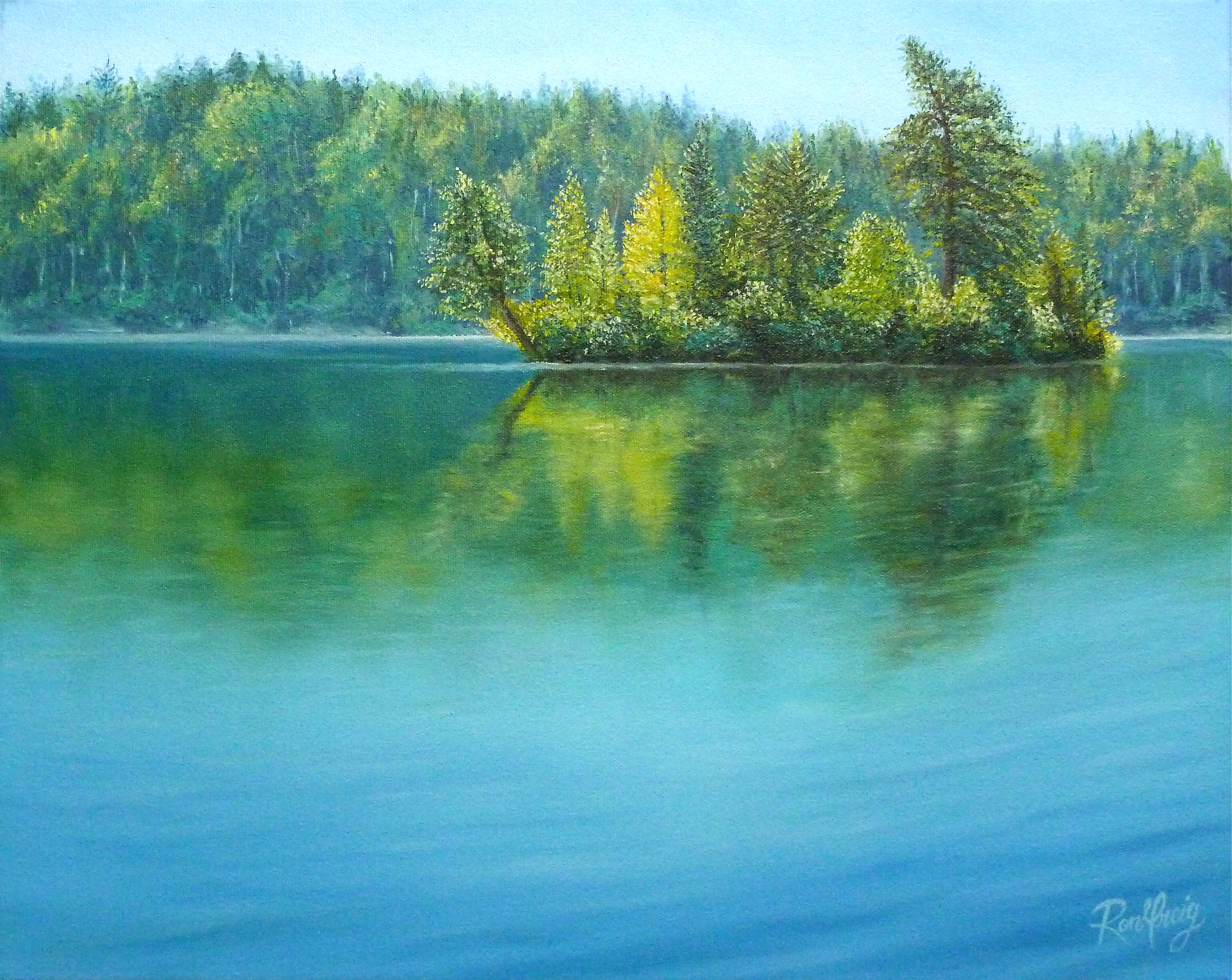 northern ontario landscape painting, windy lake, oil painting