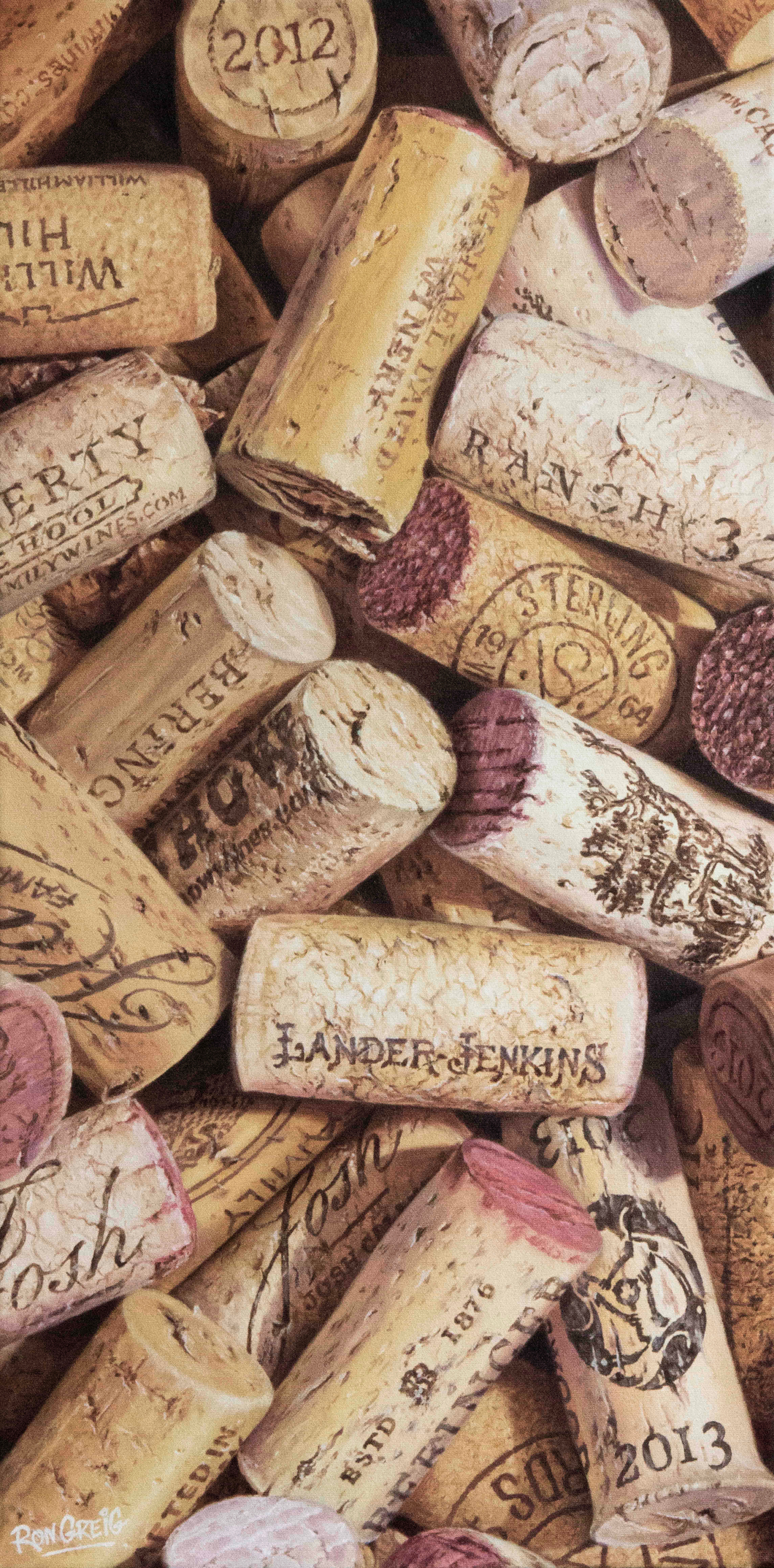 cork oil painting, california wine corks, realism, oil painting