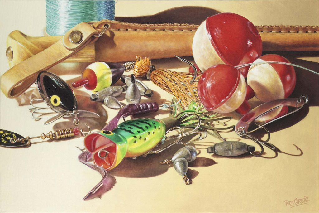 fishing lure painting, fishing tackle painting, realism, fishing realist painting