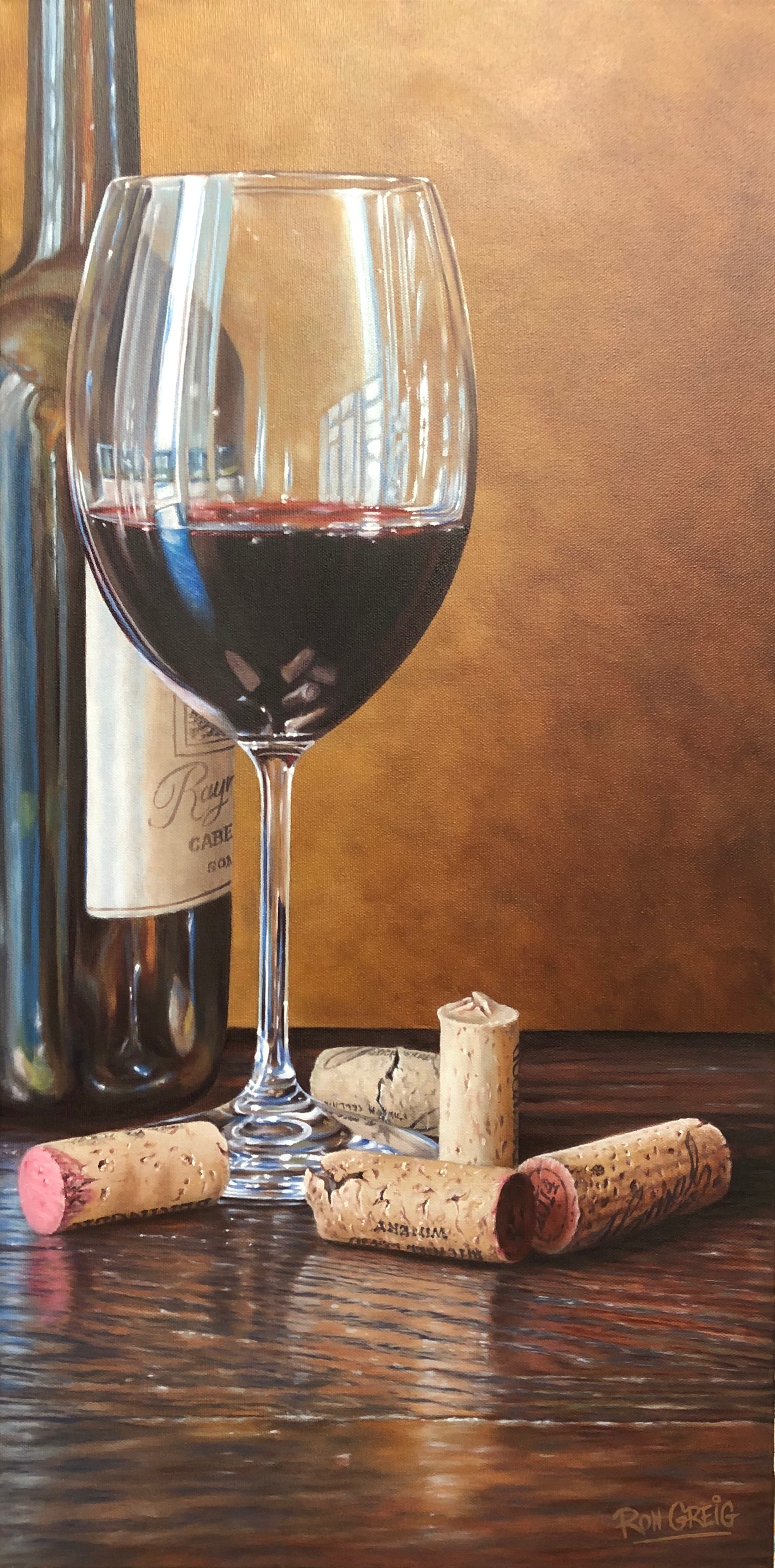 wine glass painting, wine bottle, corks, realism, oil painting