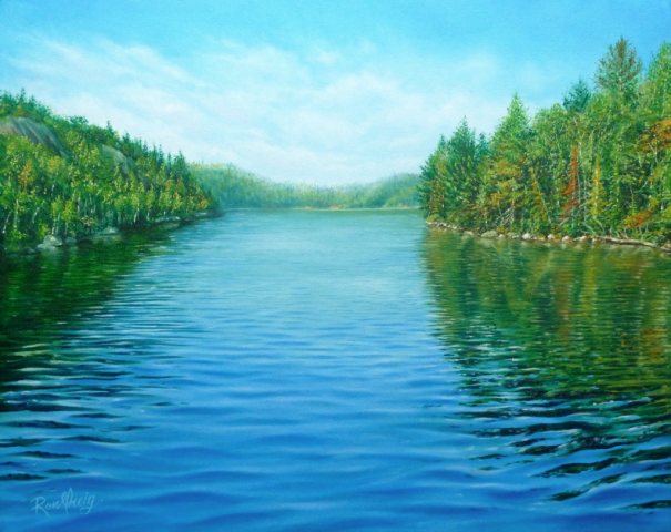 northern ontario landscape, oil painting, windy lake