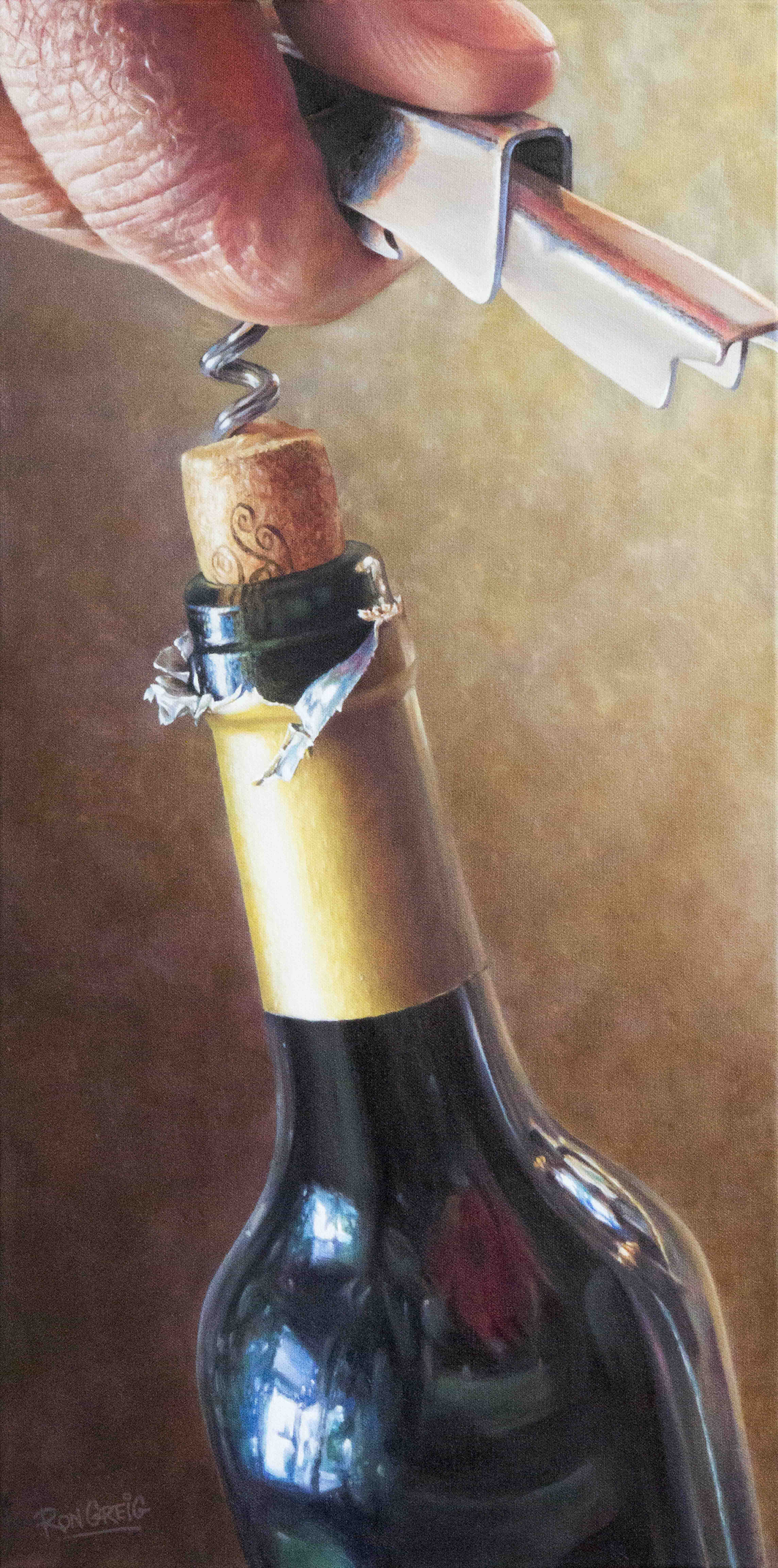 wine bottle painting, cork screw, realism, oil painting