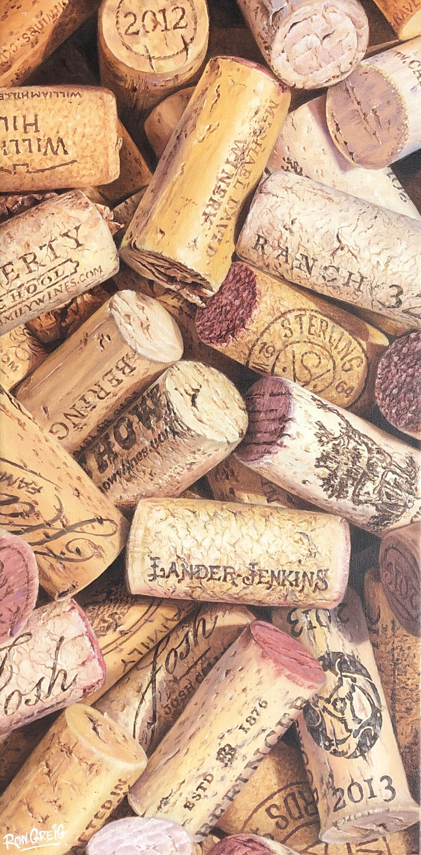 realistic cork painting, california wine painting, wine cork painting, wine art, bar art