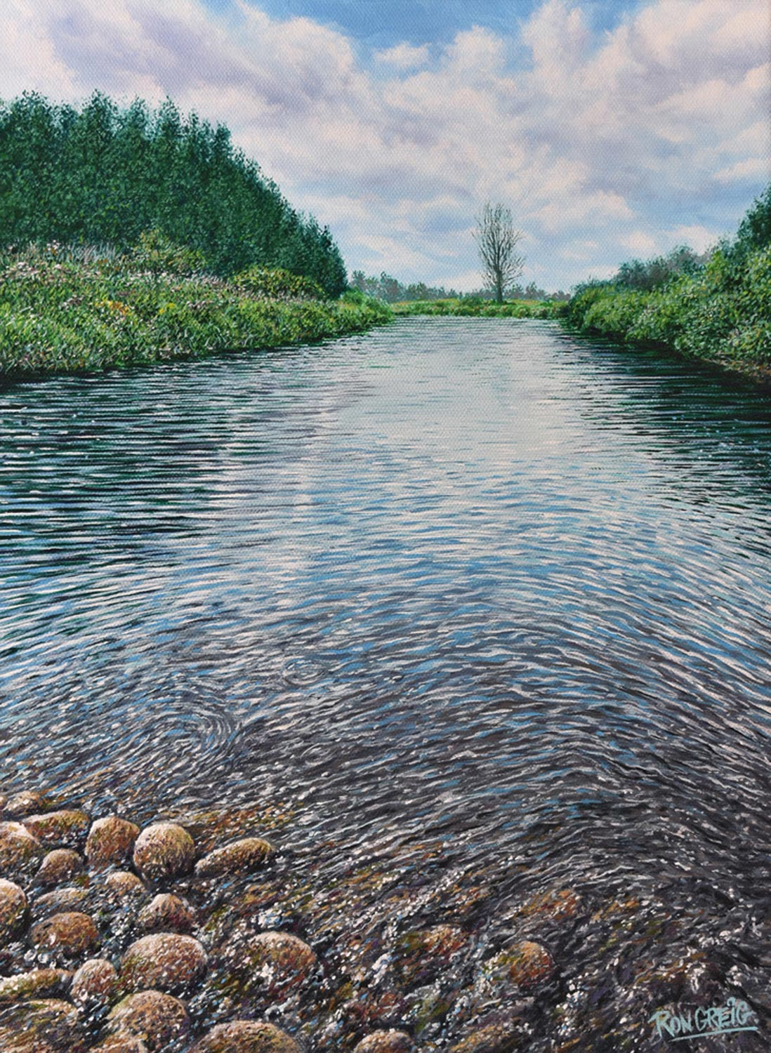 creek and river painting, oil painting, water oil painting, rocks in water, realism