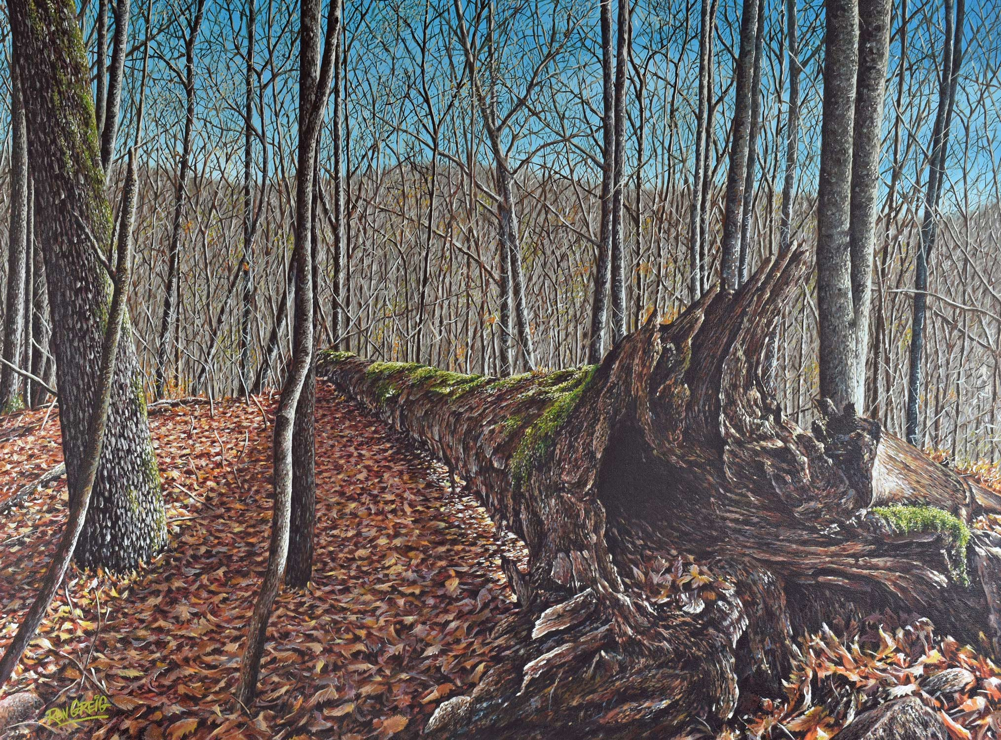 northern landscape, forest painting, minden ontario, realism, leaves, oil painting
