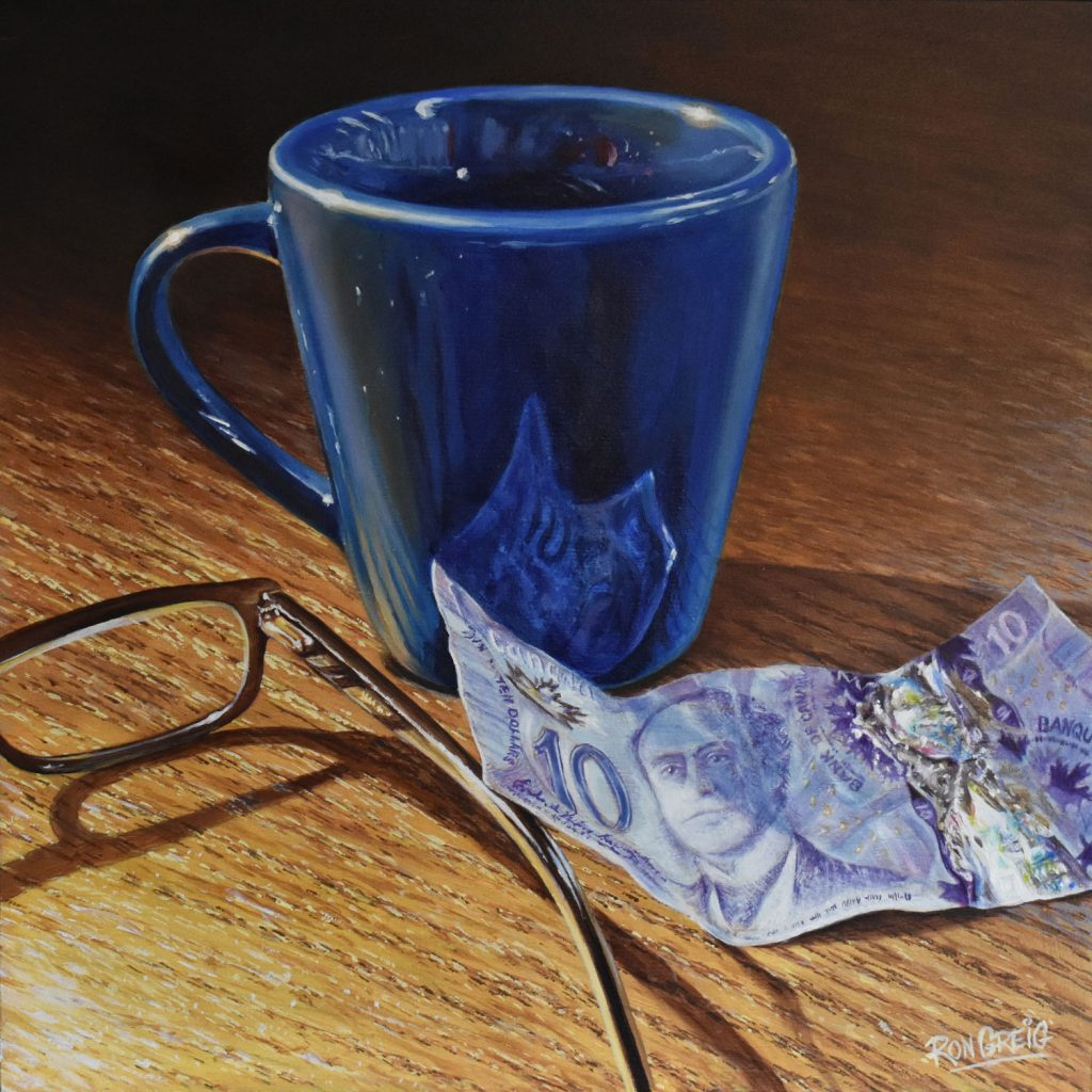 coffee cup painting, money painting, realism, restaurant painting, realism