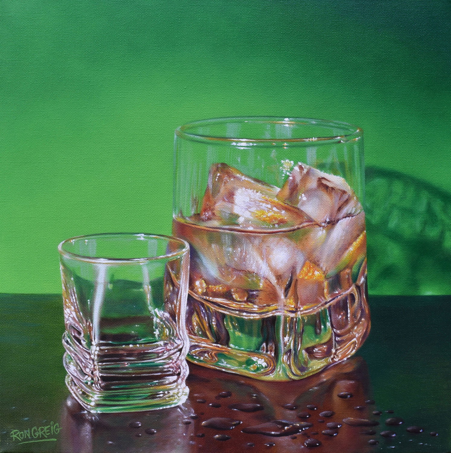 whiskey painting, realistic glass painting, bar painting, realism, oil painting