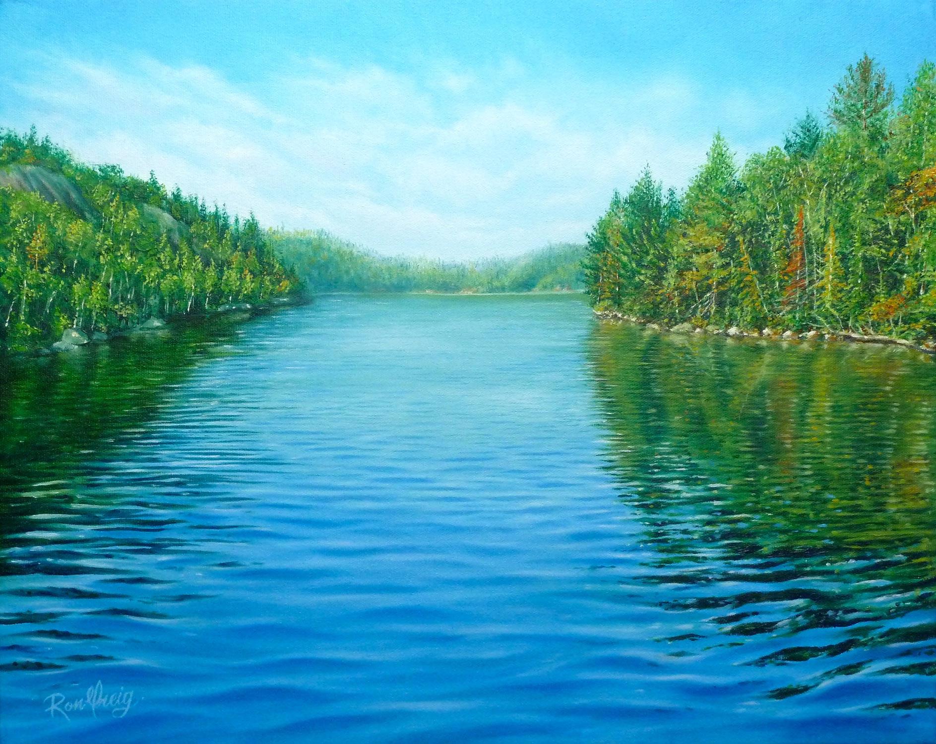windy lake, sudbury ontario oil painting, realistic water, northern ontario oil painting