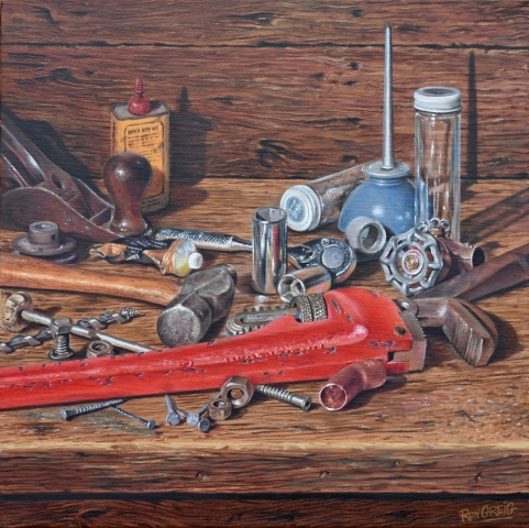 still life, realism, oil painting, tools