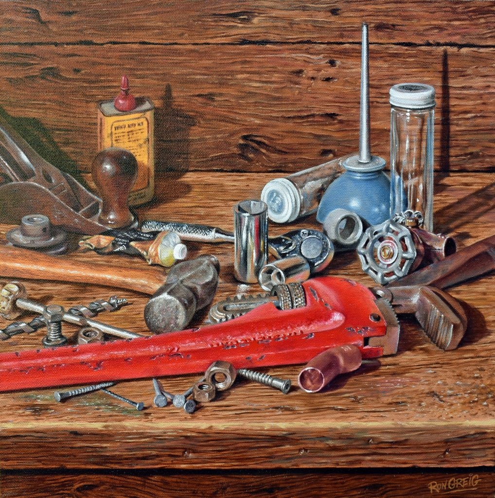 realistic tool painting, tool oil painting, old tool painting, realism