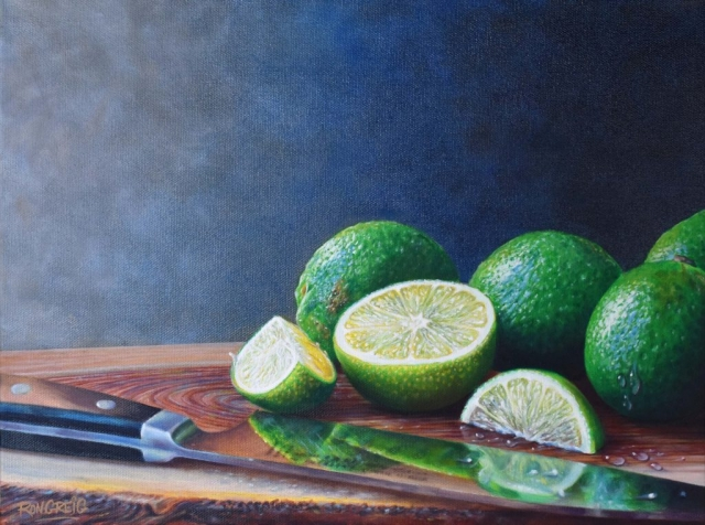 oil on canvas, limes, sandoku knife, realism,