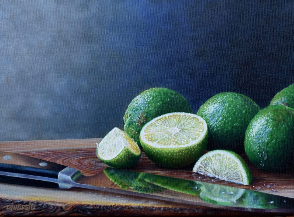 realistic lime painting, sandoku knife, realistic oil painting, kitchen art