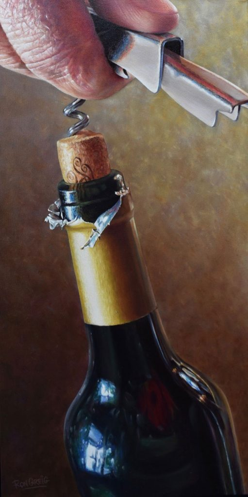 wine art, realistic wine painting, photorealism, hand and corkscrew painting