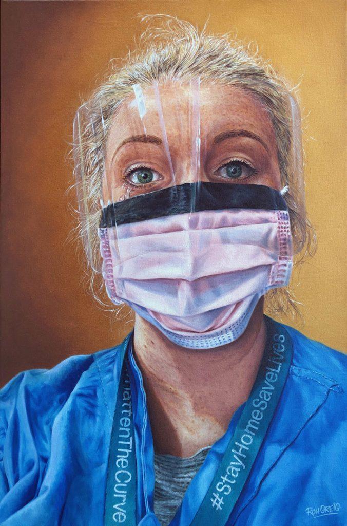 covid-19 portrait, doctor portrait, joseph brant hospital, realism, oil painting, stay home