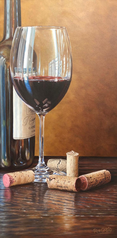 Wine painting, cork painting, realistic wine oil painting, wine art, photorealism